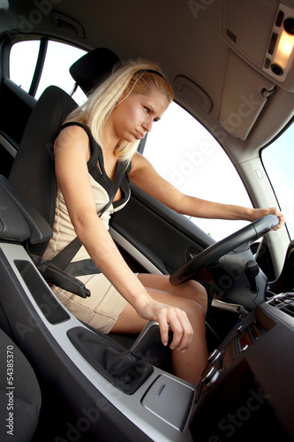 attractive upset woman driver