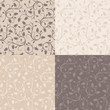 Set of four vector vintage seamless patterns with rose buds.