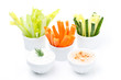 Assorted fresh vegetables and two sauses