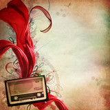 Vintage music background with old radio