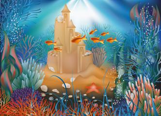 Underwater world wallpaper with sandcastle, vector