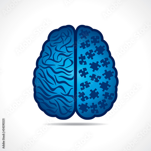 Conceptual idea silhouette image of brain with puzzle pieces
