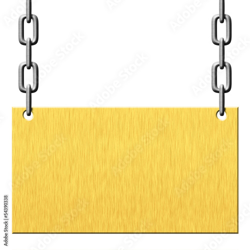 Gold metal signboard hanging on chains isolated on white