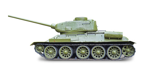 T-34 Soviet tank during World War II - white background