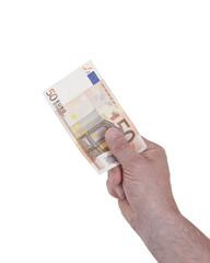 50-Euro-Schein in der hand, isoliert auf weis