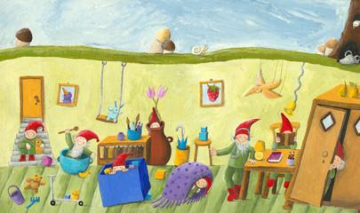 In the dwarf's children's room