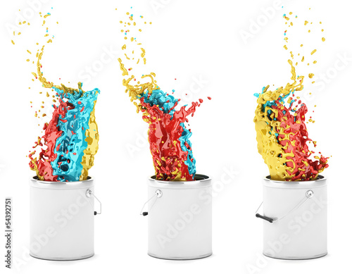 Colour's explosion in a paint tin - isolated on white