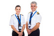canvas print picture - commercial airline captain and first officer on white background