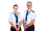 commercial airline captain and first officer on white background