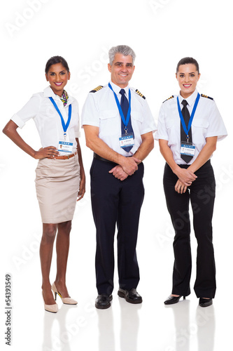 senior captain with airline crew