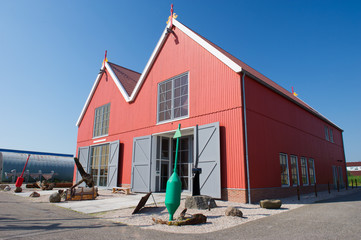 Red wooden warehouses