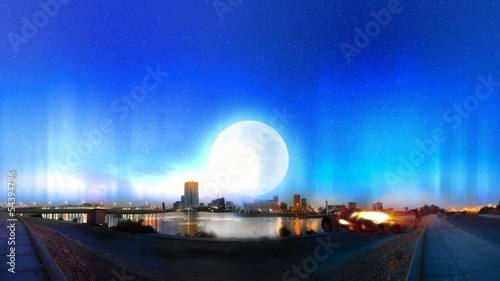 jeddah city night with aurora borealis