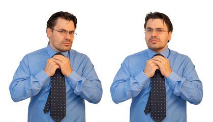 Uomo con la cravatta avverte la stretta delle tasse