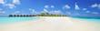 Leinwanddruck Bild - Panorama shot of a tropical islandl, Maldives on a sunny day