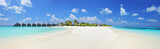 Panorama shot of a tropical islandl, Maldives on a sunny day