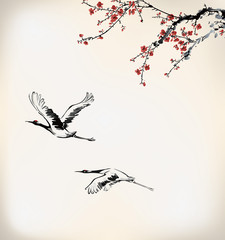 ink winter sweet and crane