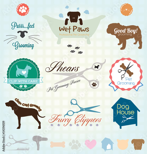 Vector Set: Retro Pet Grooming Labels