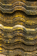 Piles of old roof tiles