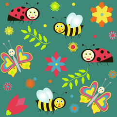 background with ladybirds, butterflies and bees