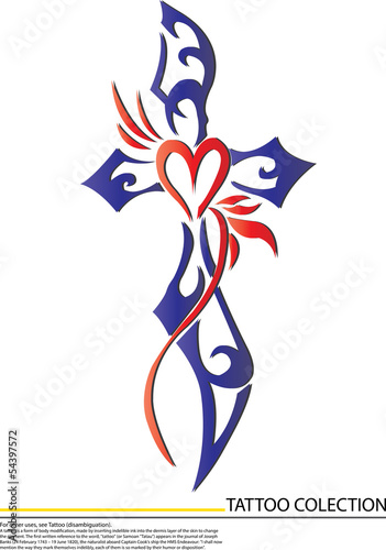 blue cross and heart tattoo