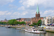 Cityscape along the Weser river in Bremen, Germany