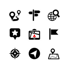Set of 9 web icons. Location, navigation, map