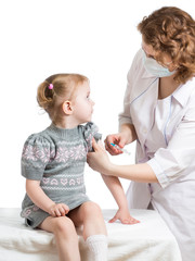 doctor injecting or vaccinating child isolated on a white