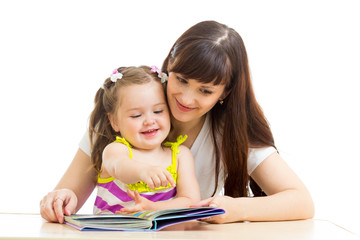 mother reading to child a book