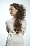 Attractive russian woman with long curly hair