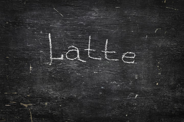 Chalk on black board: Latte