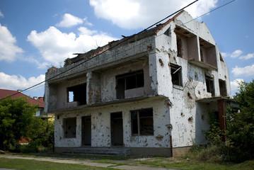House with bullet tracks, Laslovo, Croatia