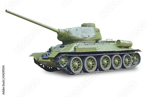 T-34 Soviet tank during World War II - white background