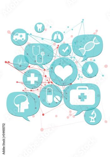 Leinwandbild Motiv Medical or pharmacy business icons