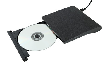 Portable Cd/Dvd external drive on white background
