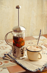 teakettle of herbal tea