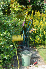 Gardening equipment with hosepipe