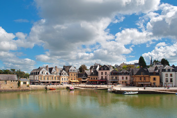 Auray harbor view, typical houses in Brittany, France