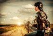 Biker girl on a motorcycle - 54404528