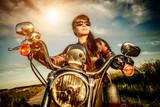Fototapety Biker girl on a motorcycle