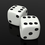 White dices on black
