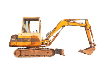 Old compact size excavator machine, isolated on white background