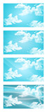 Set of abstract backgrounds with clouds and rays of light