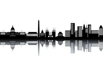 Washington skyline - black and white vector illustration
