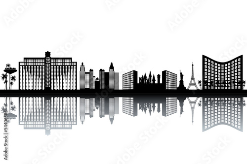 Las Vegas skyline - black and white vector illustration - 54406585