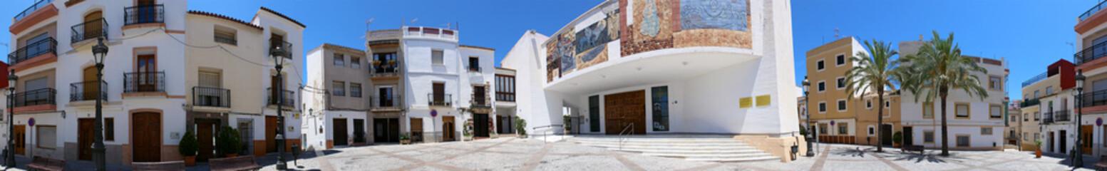 Plaza de la Villa and the parish church of Calp, Spain