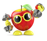 3d Apple lifting weights