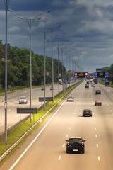Multi-lane highway traffic between Kiev and Borispol
