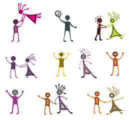 Drawing pictograms of dancing people