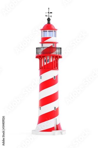 Lighthouse isolated on white