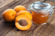 Group of apricot with a glas of marmelade